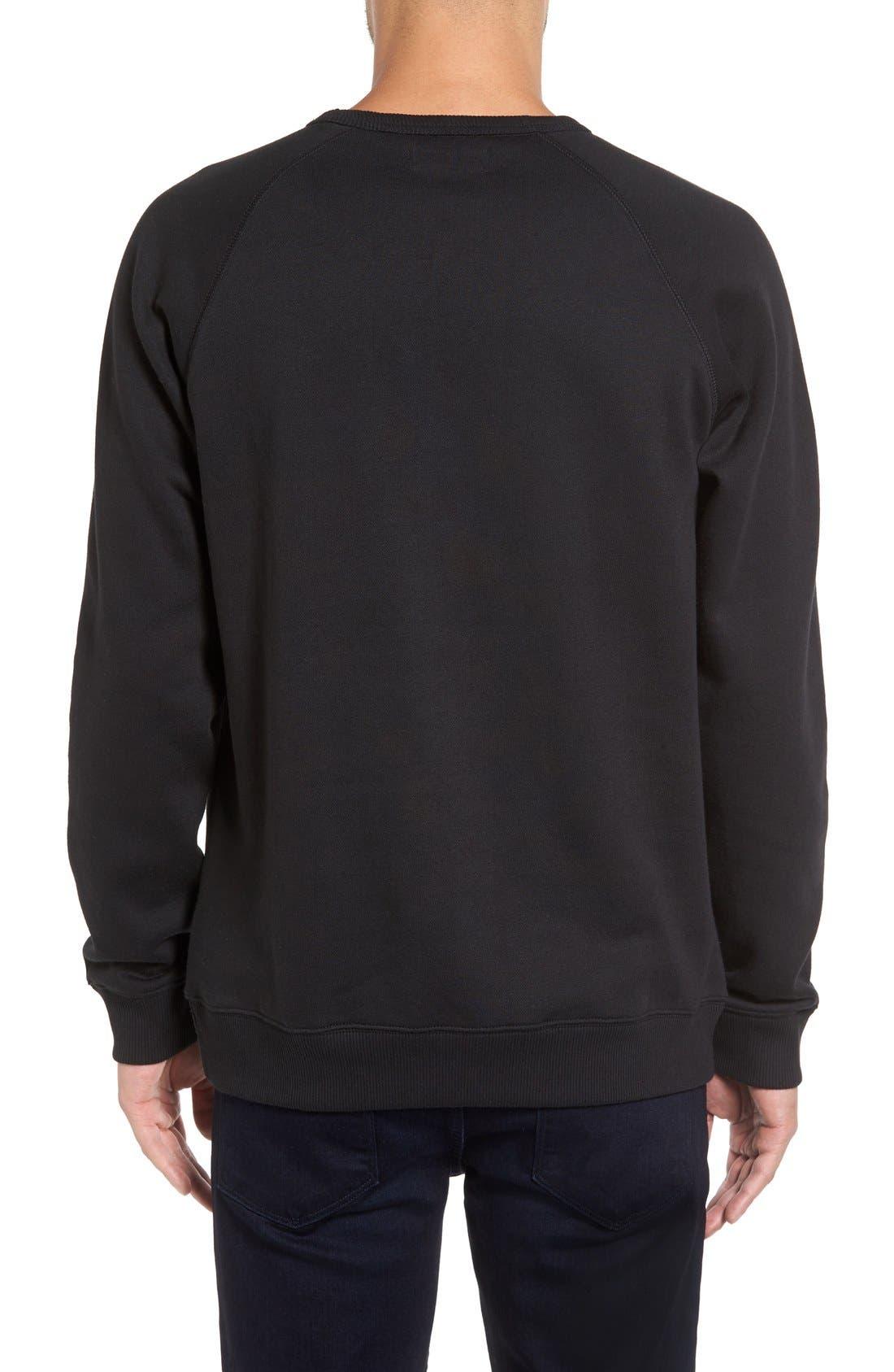 Slim Fit Trefoil Logo Crewneck Sweatshirt,                             Alternate thumbnail 2, color,                             Black