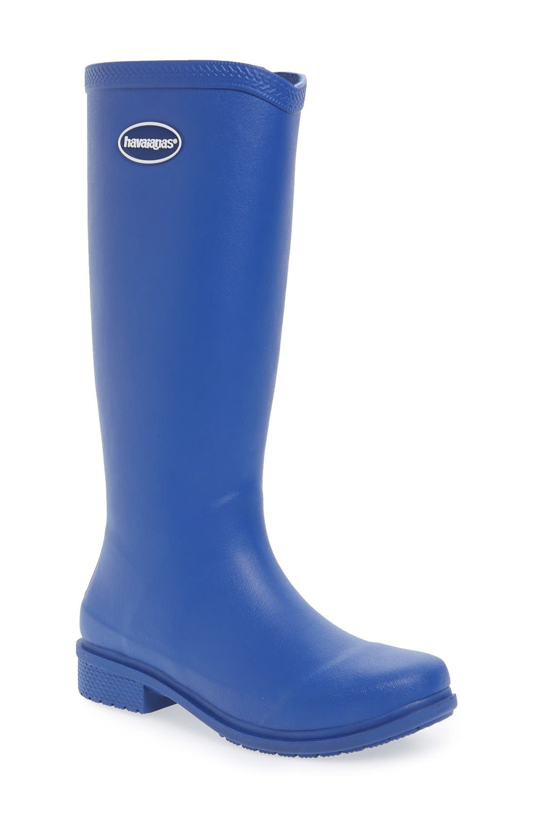 'Galochas Hi Matte' Waterproof Rain Boot,                             Main thumbnail 1, color,                             Marine Blue