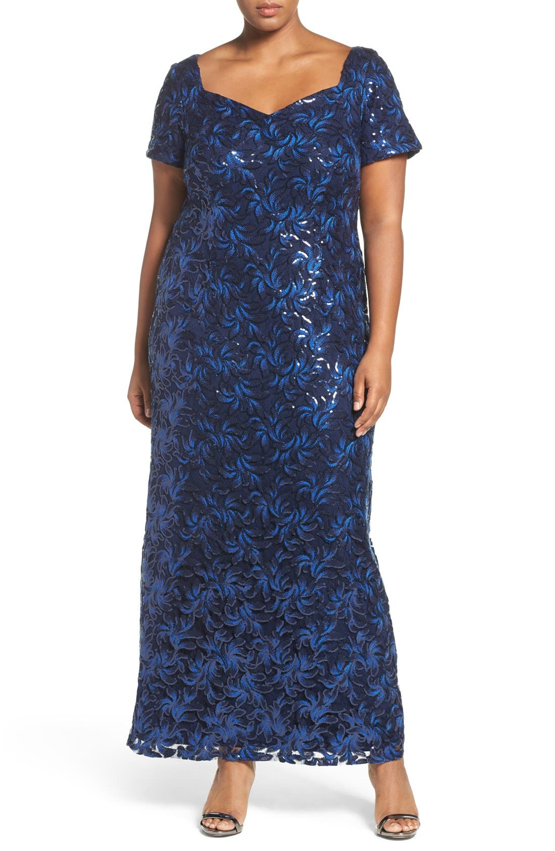 Sequin Embroidered Sweetheart Gown,                         Main,                         color, Navy/ Royal