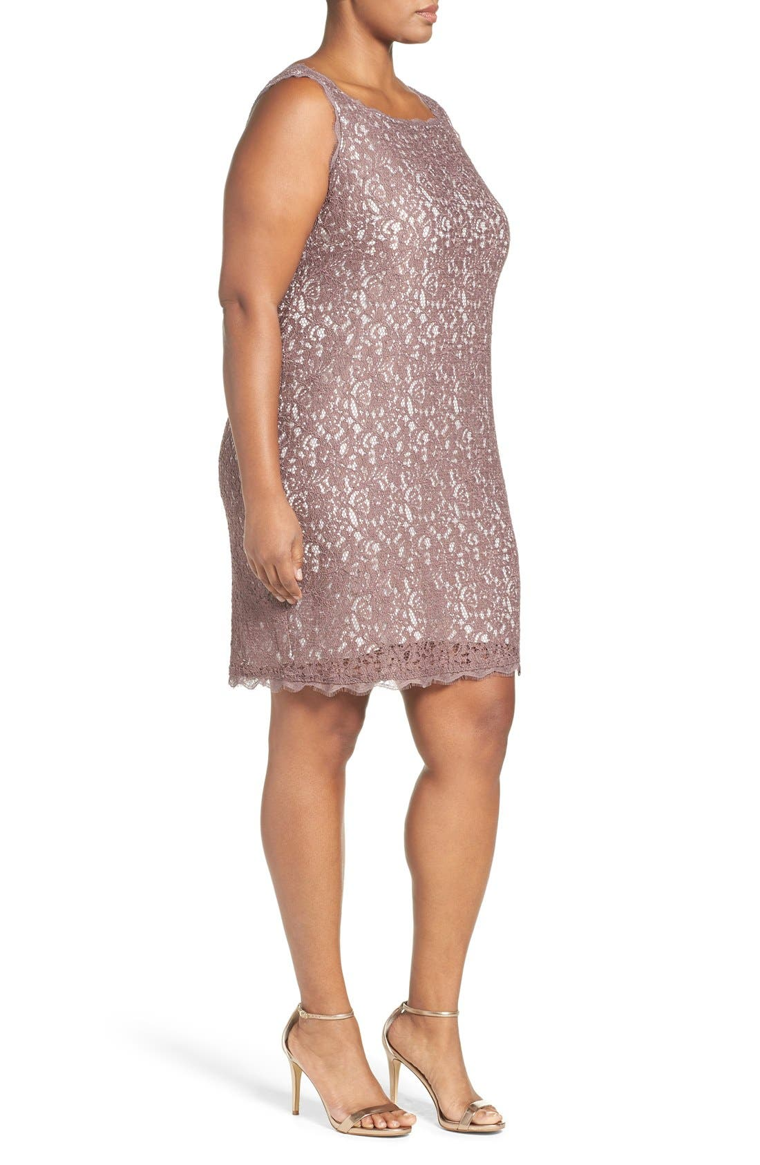 Alternate Image 3  - Adrianna Papell Sleeveless Lace Sheath Dress (Plus Size)