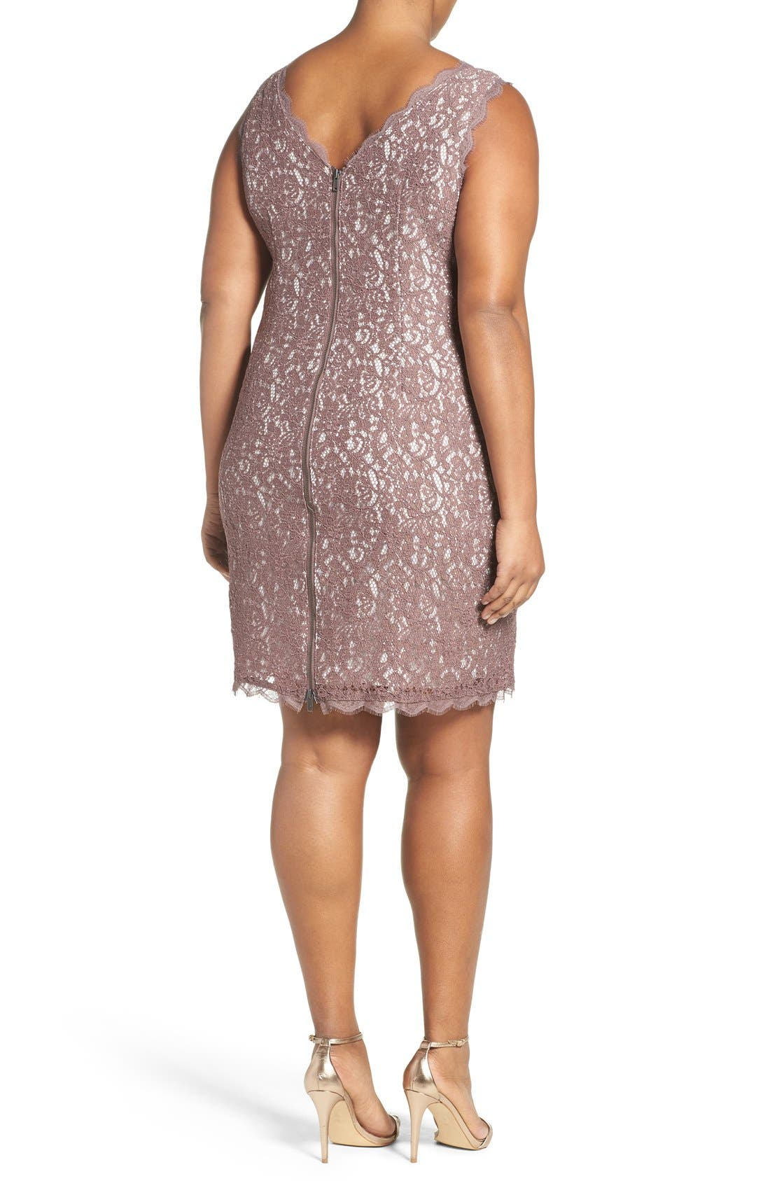 Alternate Image 2  - Adrianna Papell Sleeveless Lace Sheath Dress (Plus Size)