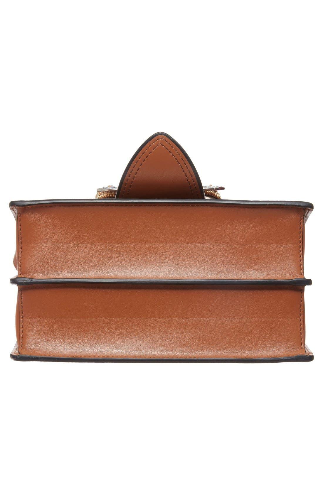 'Small Madras' Crystal Embellished Leather Shoulder Bag,                             Alternate thumbnail 6, color,                             Brandy