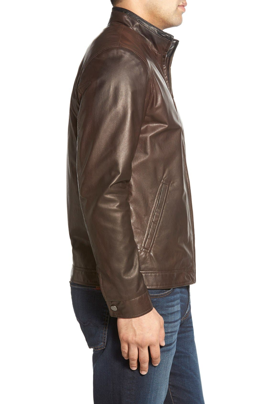 Lambskin Leather Jacket,                             Alternate thumbnail 3, color,                             Coffee