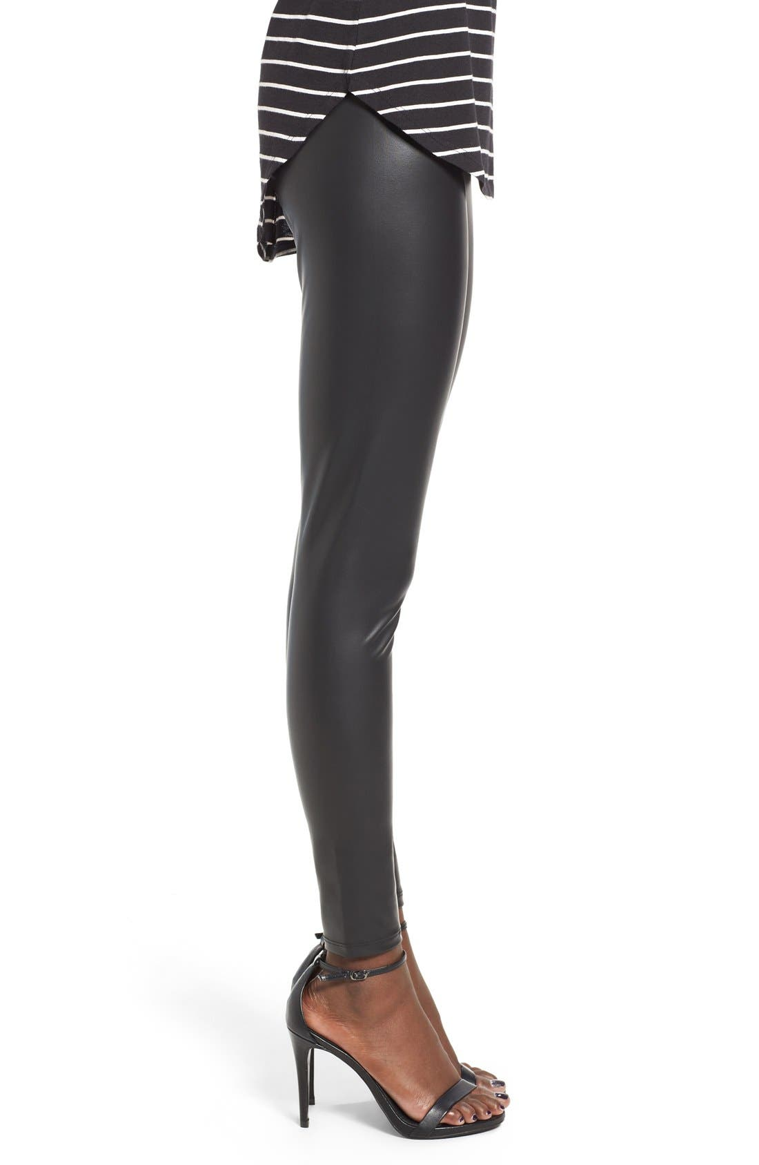 Faux Leather Leggings,                             Alternate thumbnail 3, color,                             Black