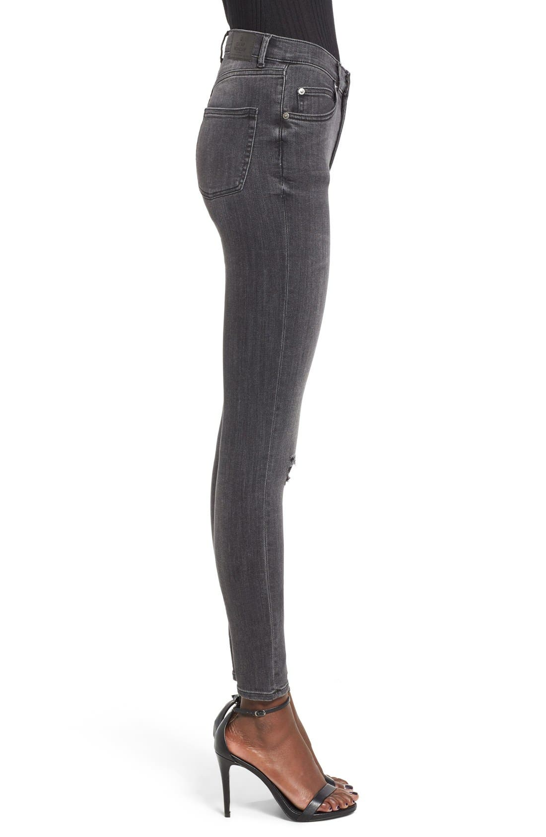 Alternate Image 3  - Cheap Monday Second Skin High Rise Skinny Jeans (Shadow)