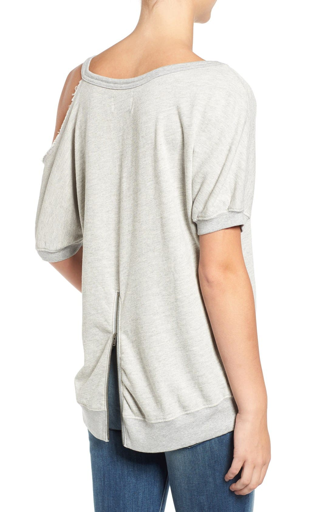 Distressed Open Shoulder Sweatshirt,                             Alternate thumbnail 2, color,                             Heather Grey