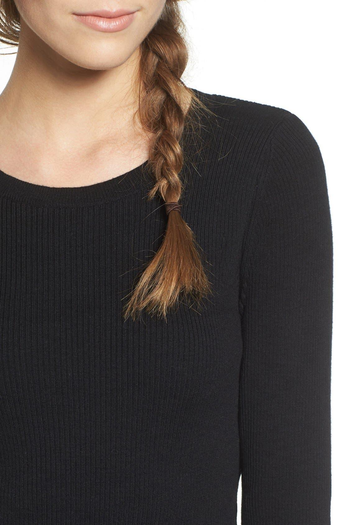 Rib Knit Pullover,                             Alternate thumbnail 4, color,                             Black