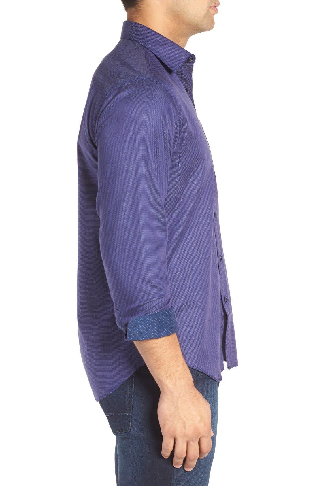 Shaped Fit Stripe Jacquard Sport Shirt,                             Alternate thumbnail 3, color,                             Night Blue