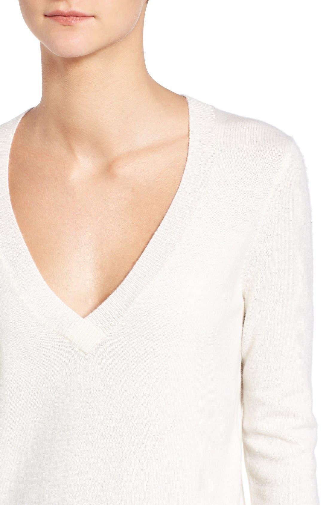 Luna V-Neck Merino & Cashmere Tunic Sweater,                             Alternate thumbnail 4, color,                             Powdered White