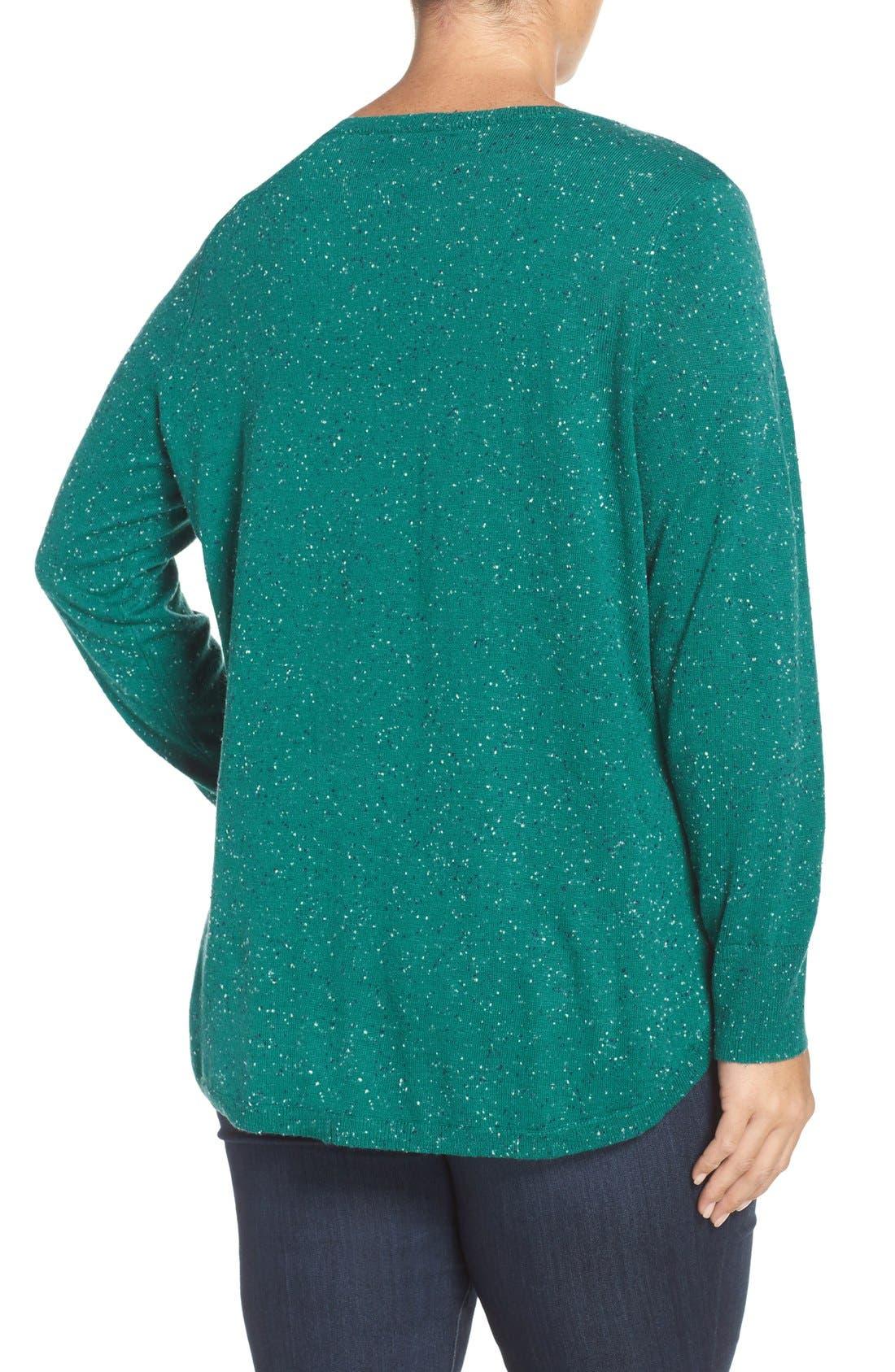 Alternate Image 2  - Caslon® Marled V-Neck Sweater (Plus Size)
