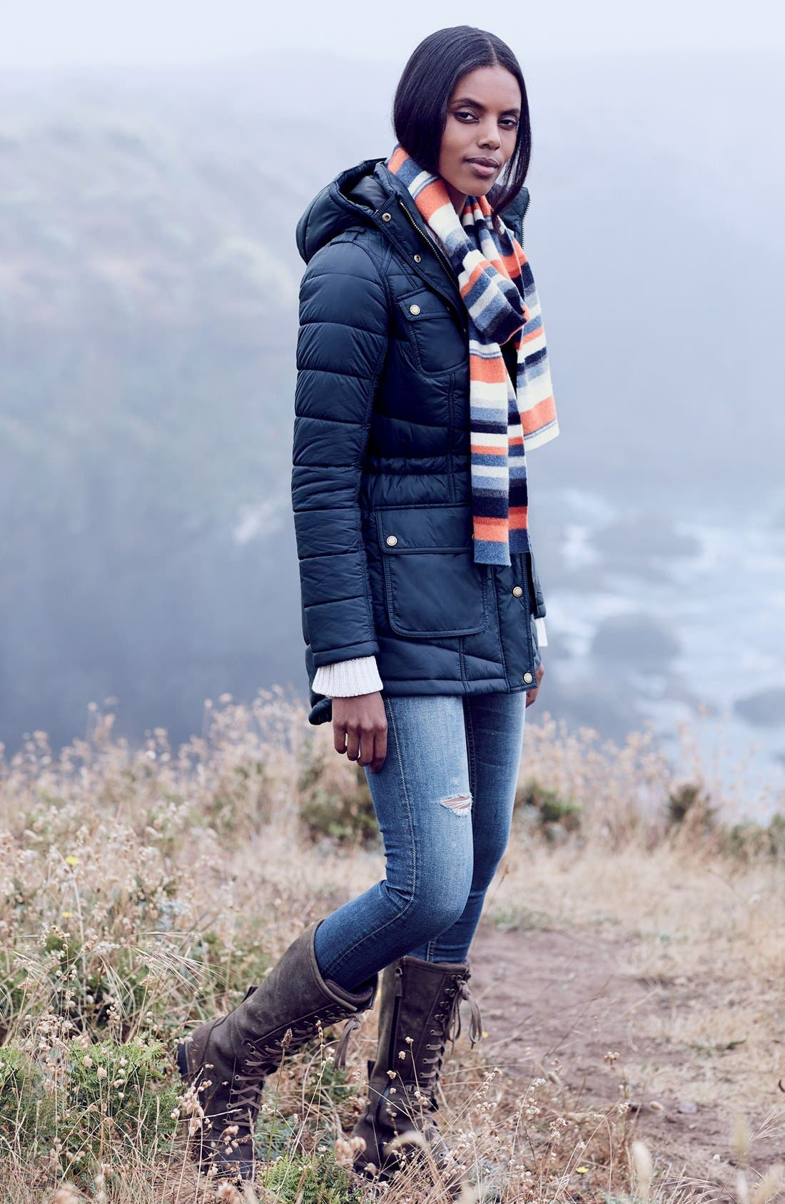 Barbour Coat & Scarf, AG Skinny Jeans Outfit with Accessories
