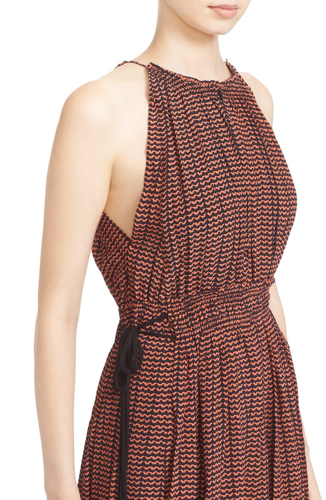 'Lippard' Tassel Trim Silk Dress,                             Alternate thumbnail 4, color,                             Tiny Ripples Print