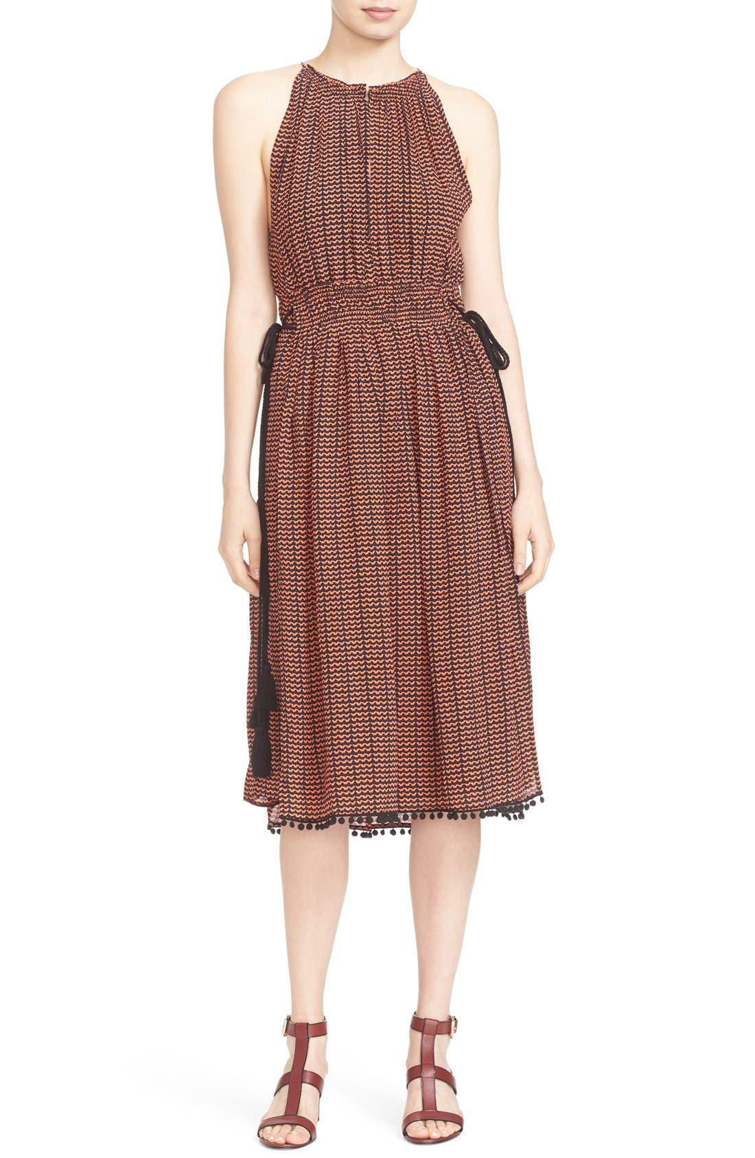 'Lippard' Tassel Trim Silk Dress,                             Main thumbnail 1, color,                             Tiny Ripples Print