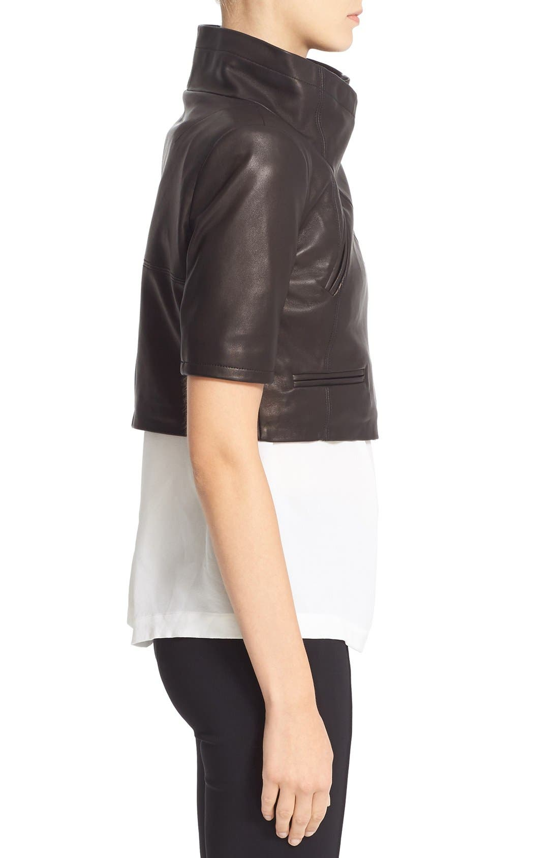 'Gimmy' Crop Lambskin Leather Jacket,                             Alternate thumbnail 5, color,                             Jet