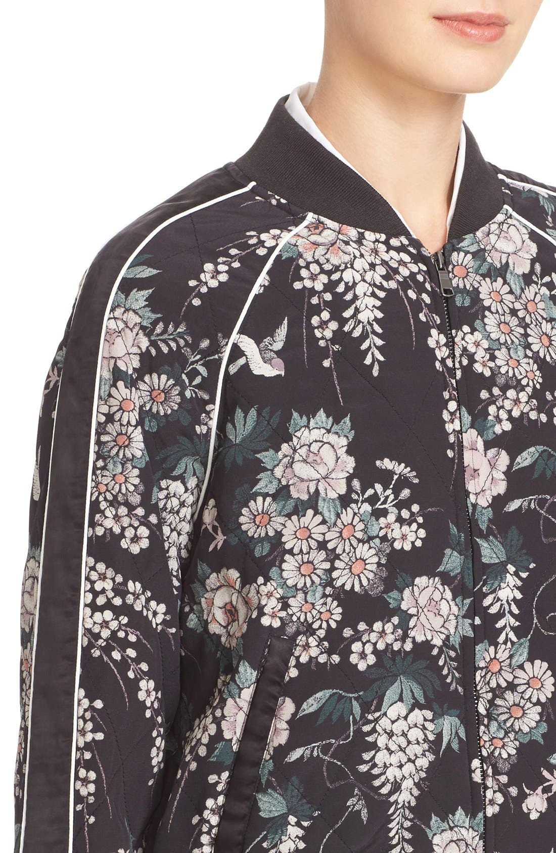 Alternate Image 5  - Joie Mace Print Quilted Silk Baseball Jacket