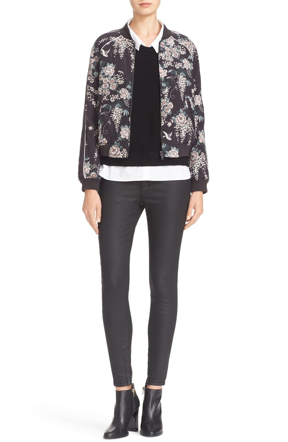 Alternate Image 2  - Joie Mace Print Quilted Silk Baseball Jacket