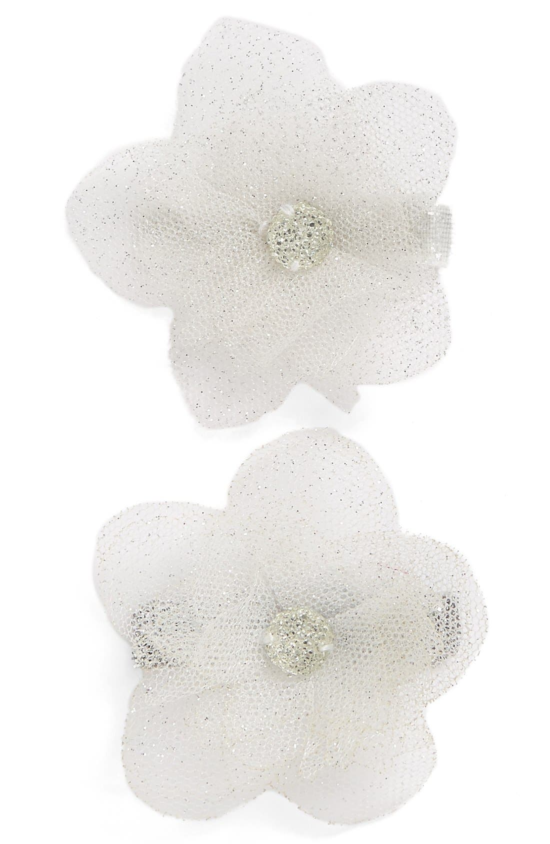 Set of 2 Glitter Flower Hair Clips,                         Main,                         color, Silver