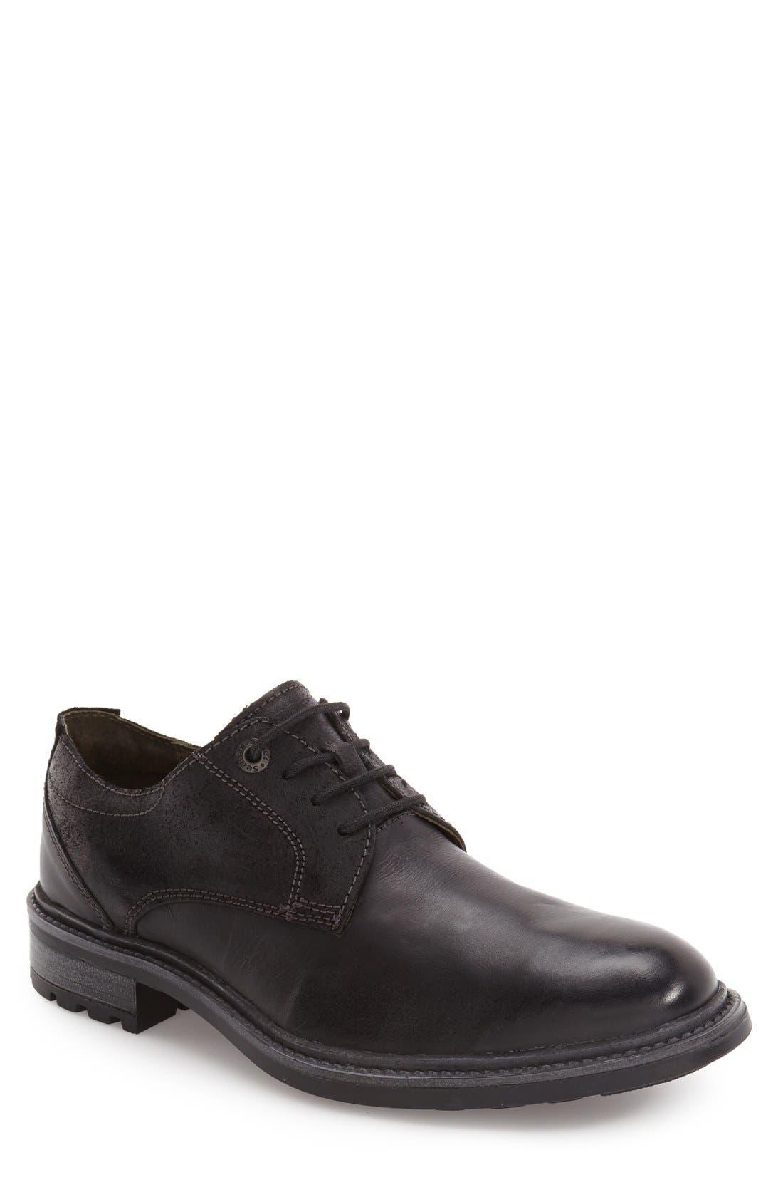 Oscar Plain Toe Derby,                             Main thumbnail 1, color,                             Black Leather