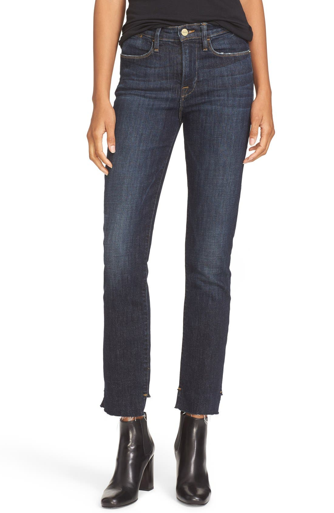 Main Image - FRAME High Waist Staggered Hem Jeans (Northern)