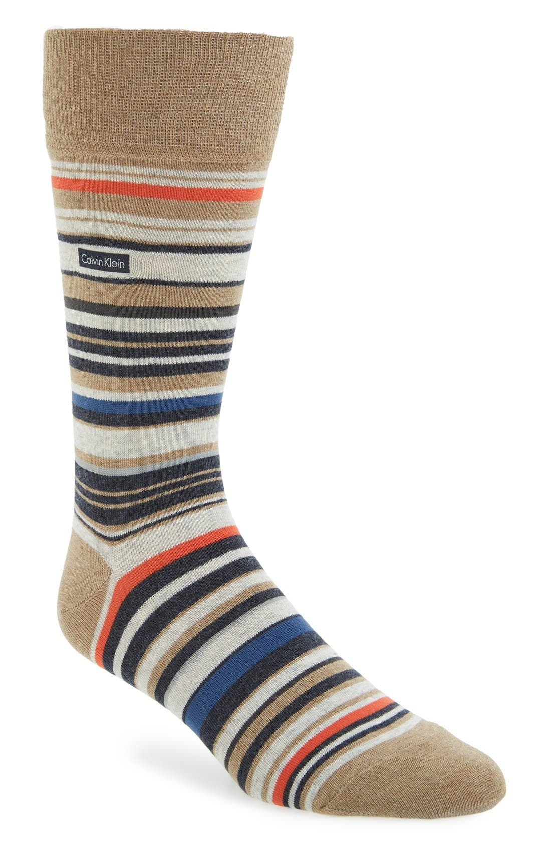 Alternate Image 1 Selected - Calvin Klein Multistripe Emblem Socks