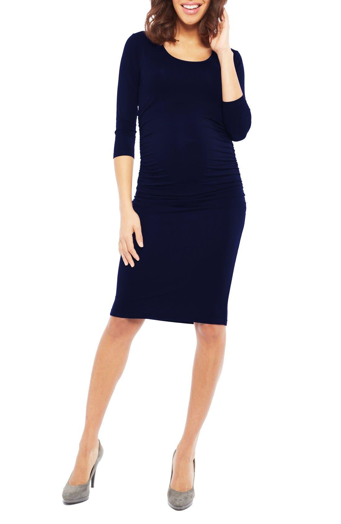 Nom 'Ellie' Ruched Maternity Dress,                         Main,                         color, Navy