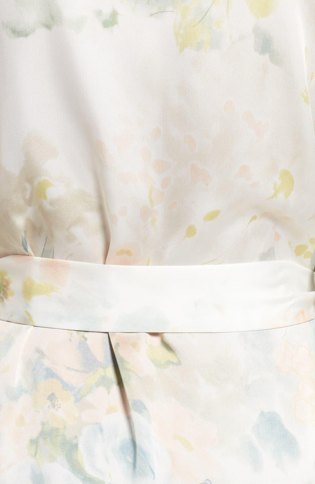 Isabella Floral Print Kimono Robe,                             Alternate thumbnail 5, color,                             Ivory Sage