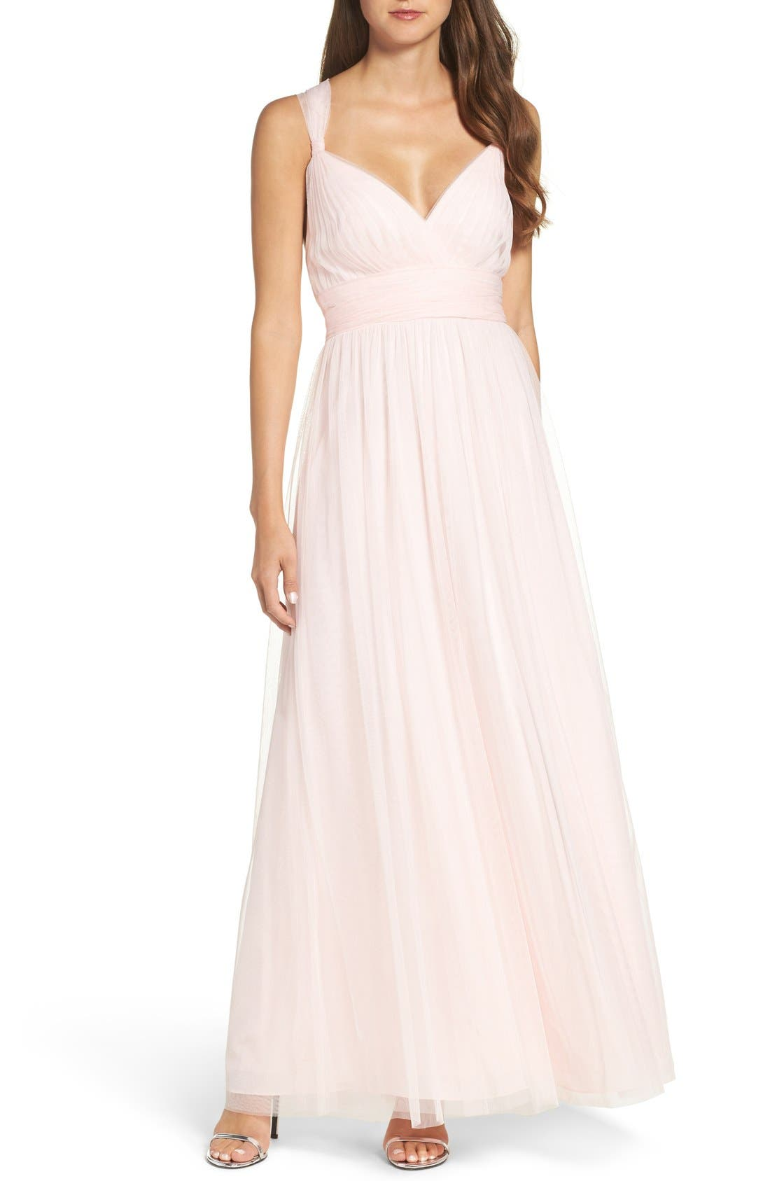 Deep V-Neck Chiffon & Tulle Gown,                         Main,                         color, Ice Pink