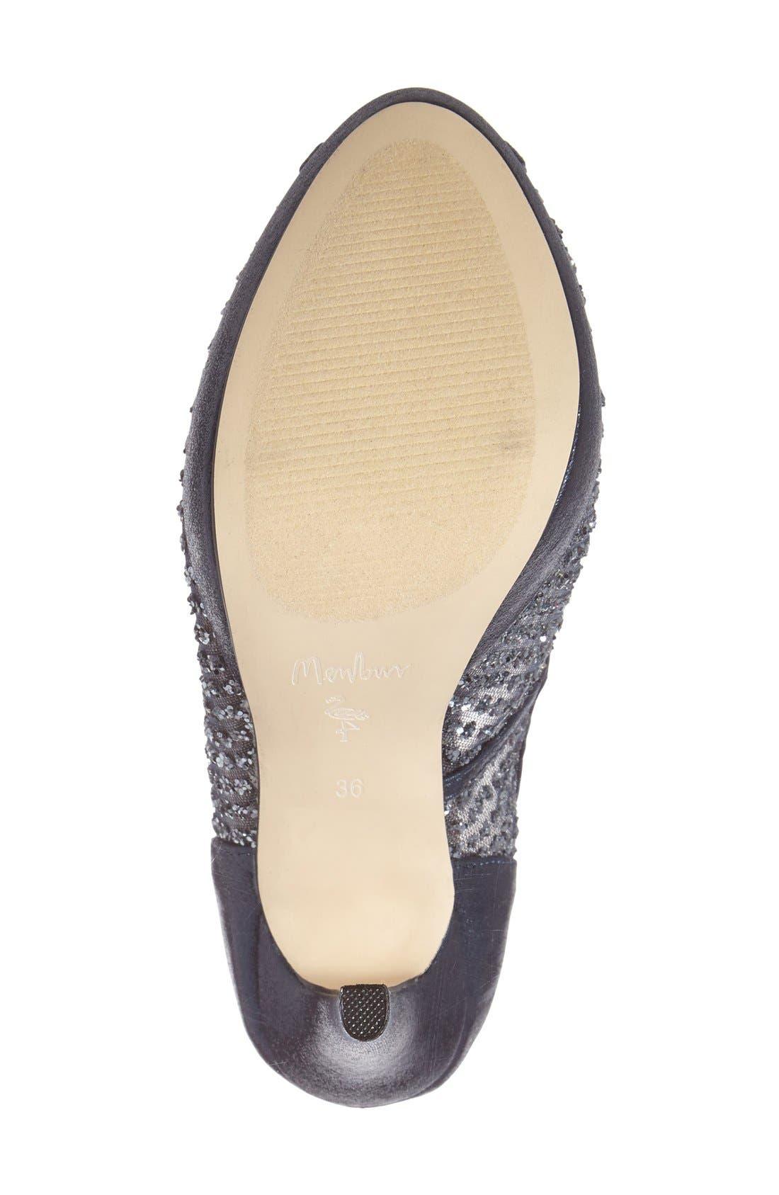 'Tambre' Glitter Platform Sandal,                             Alternate thumbnail 4, color,                             Blue Fabric