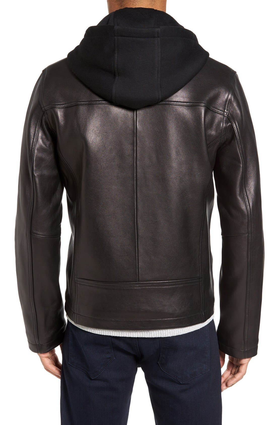 Leather Jacket with Removable Hooded Bib,                             Alternate thumbnail 2, color,                             Black