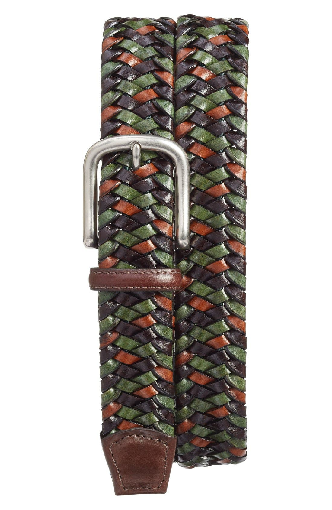 Woven Leather Belt,                         Main,                         color, Green