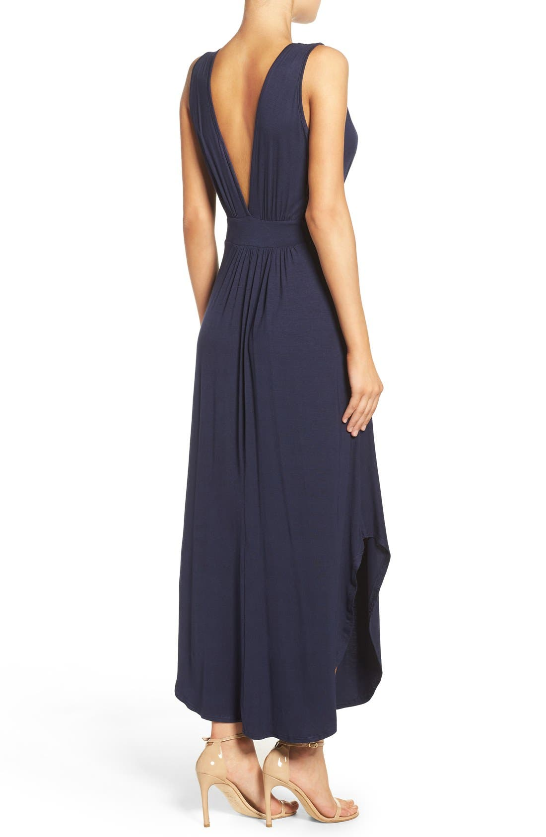 V-Neck Jersey Dress,                             Alternate thumbnail 2, color,                             Indigo