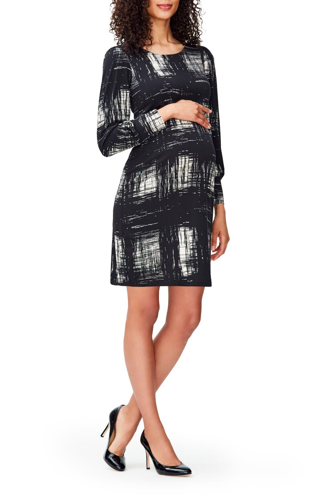 'Kate' Maternity Dress,                         Main,                         color, Rendered Windowpane