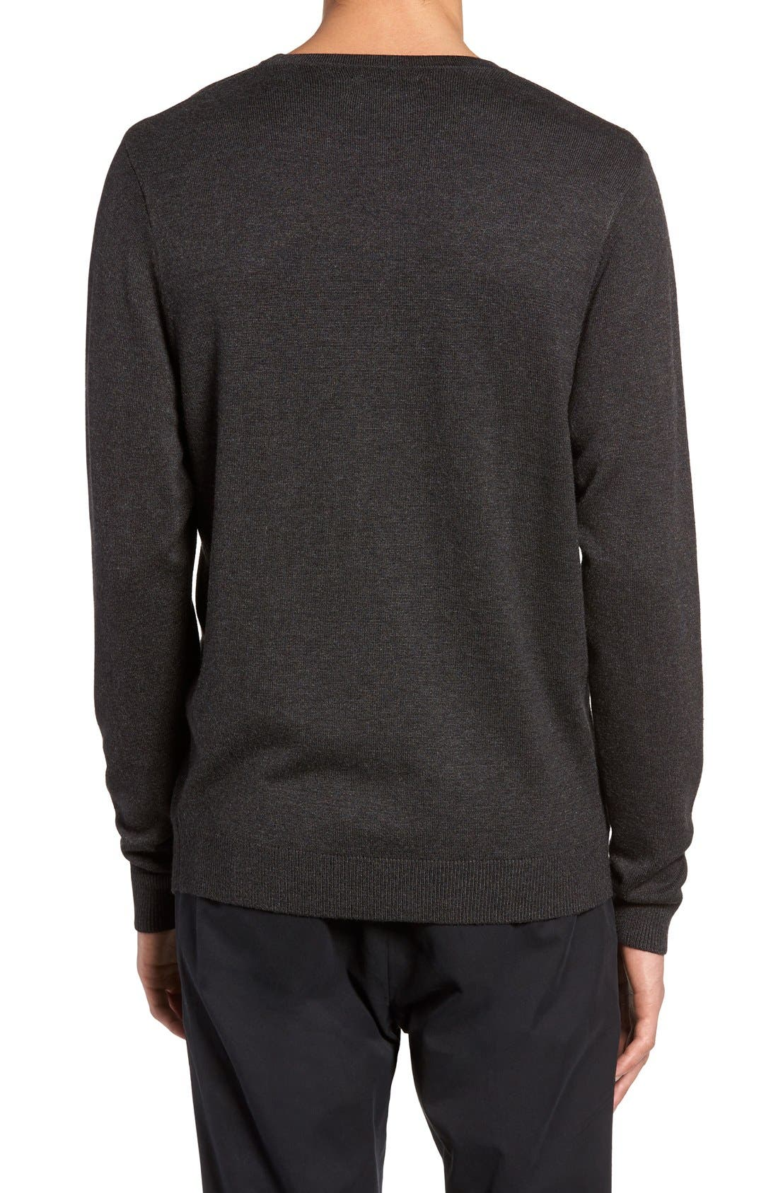 Honeycomb Stitch Crewneck Sweater,                             Alternate thumbnail 2, color,                             Grey Dark Charcoal Heather