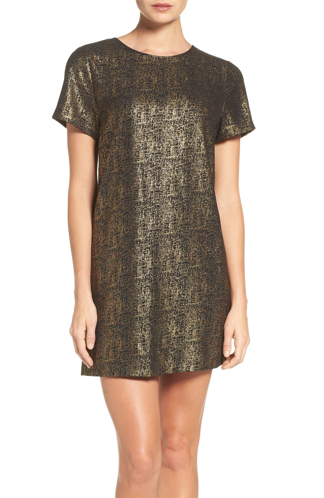 Amy Metallic Shift Dress,                         Main,                         color, Black/ Gold