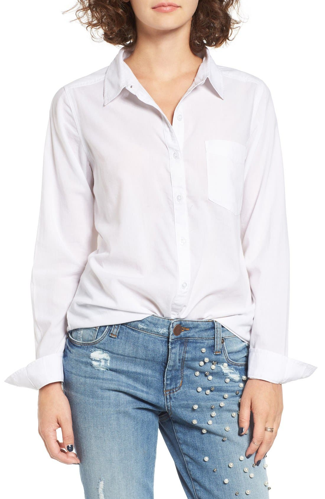 Cotton Blend Button Down Shirt,                         Main,                         color, White