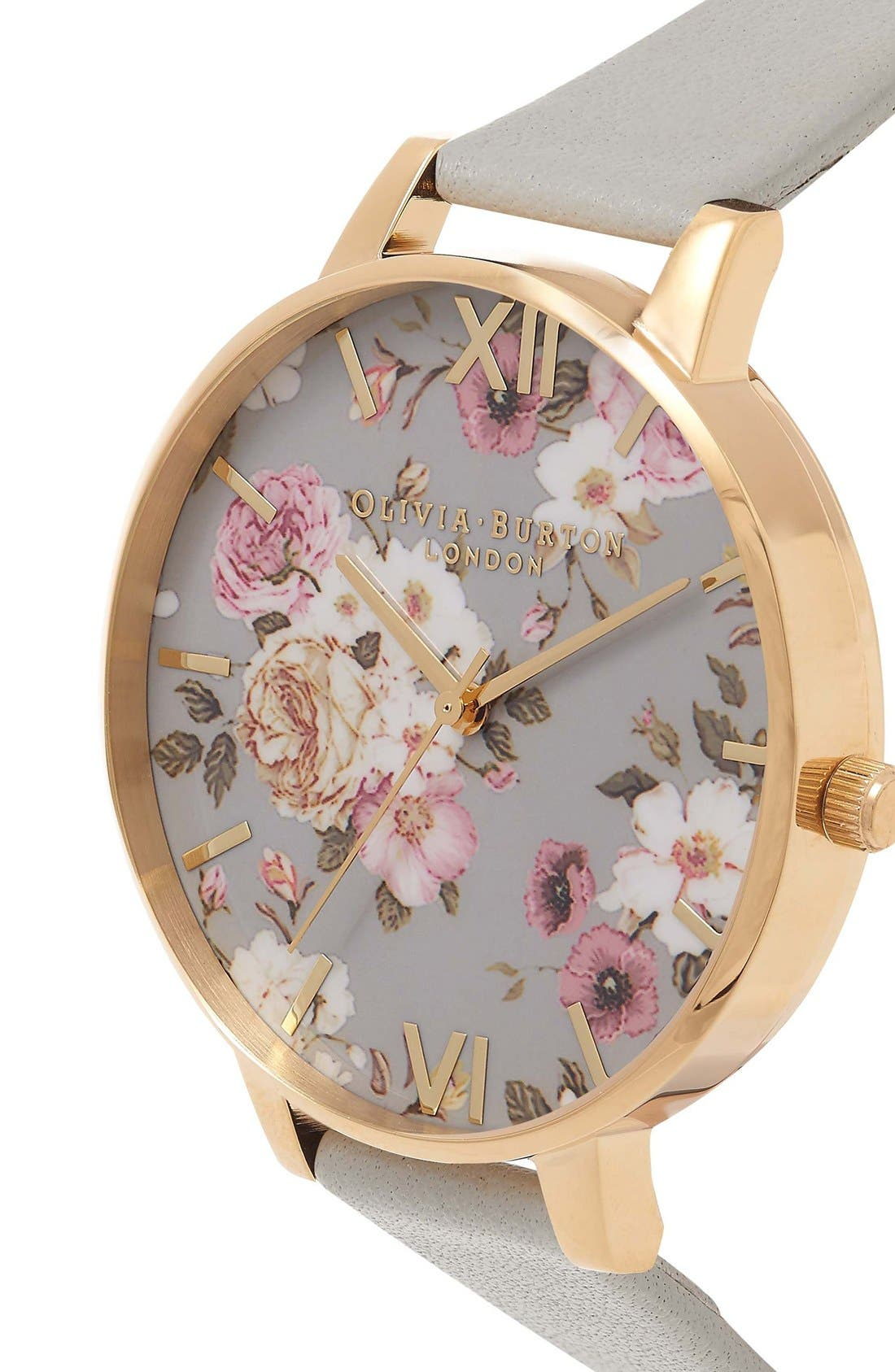 Alternate Image 3  - Olivia Burton Flower Show Leather Strap Watch, 38mm