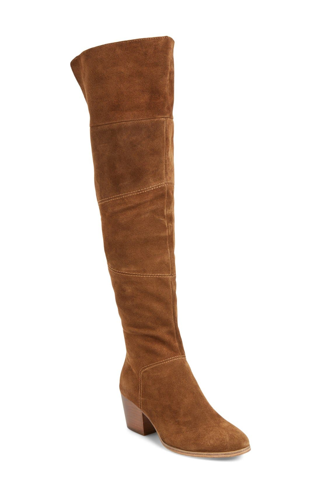 Melbourne Over the Knee Boot,                             Main thumbnail 1, color,                             Brown Suede