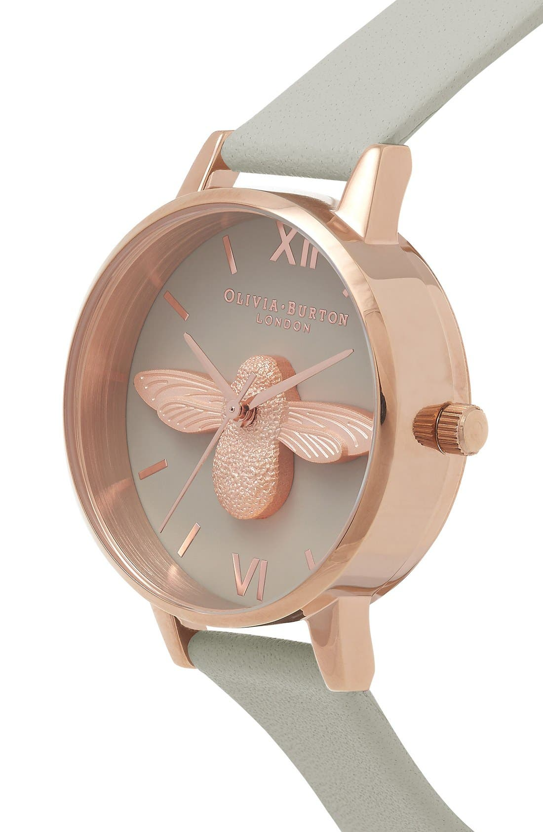 Animal Motif Leather Strap Watch, 30mm,                             Alternate thumbnail 2, color,                             Moulded Bee Grey/ Rose Gold