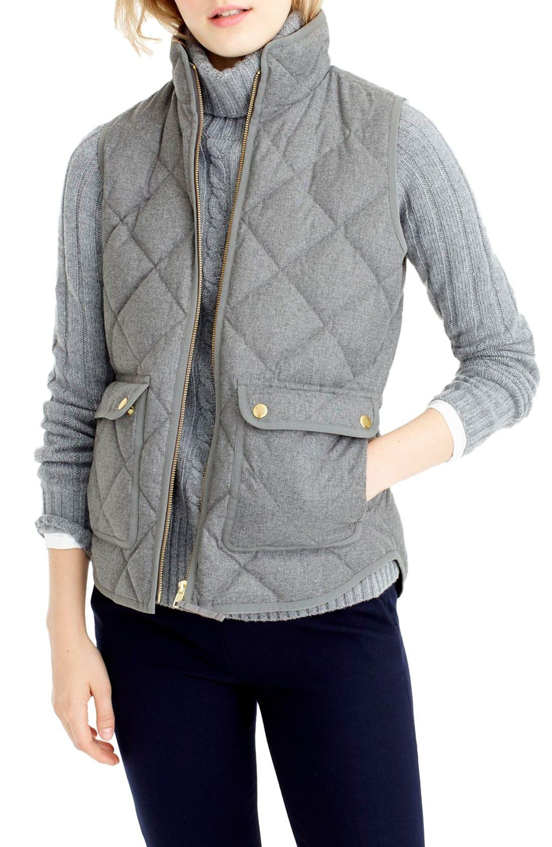 Main Image - J.Crew Excursion Quilted Flannel Vest (Regular & Petite)