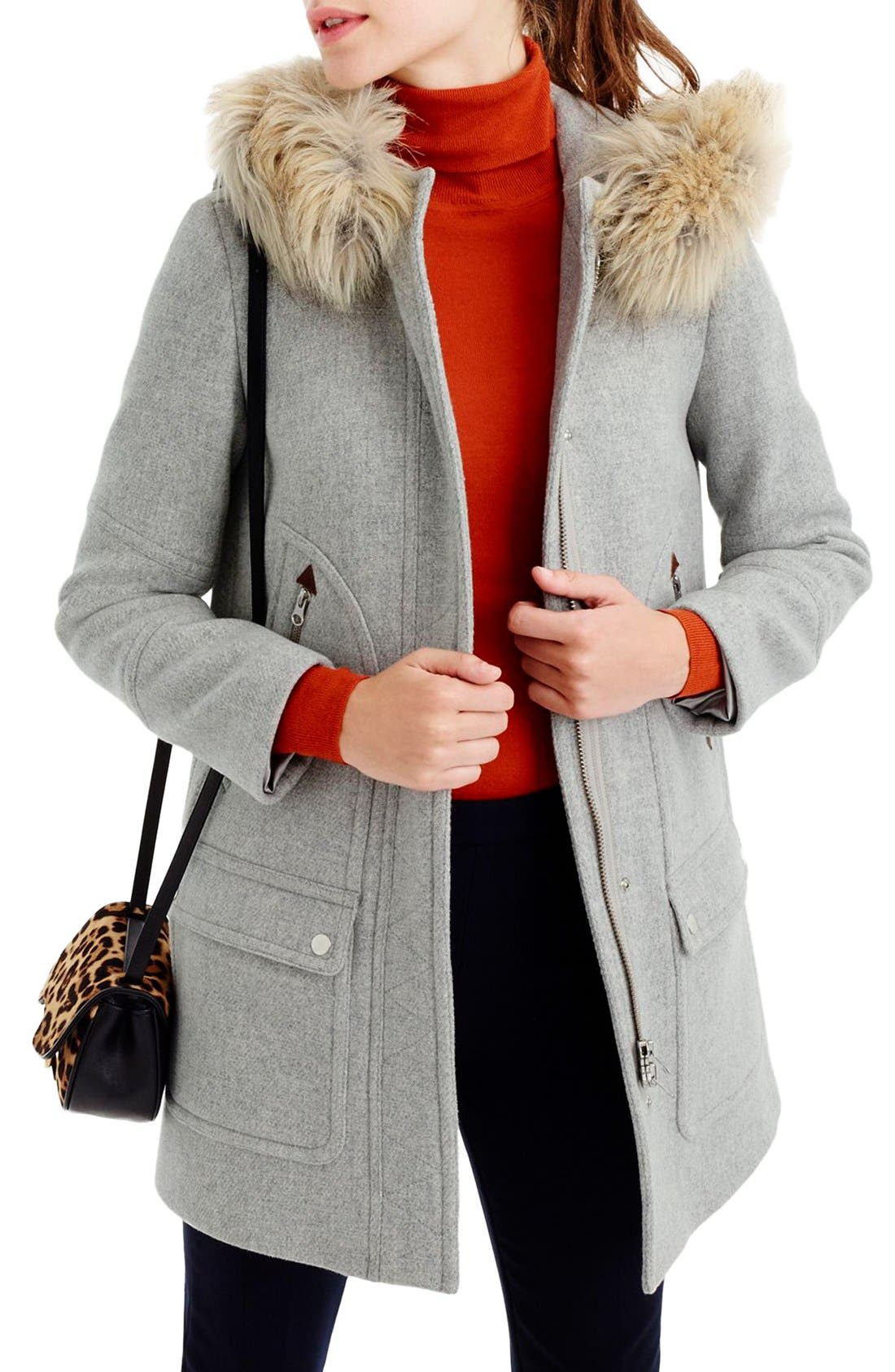 Main Image - J.Crew Chateau Stadium Cloth Parka with Faux Fur (Regular & Petite)