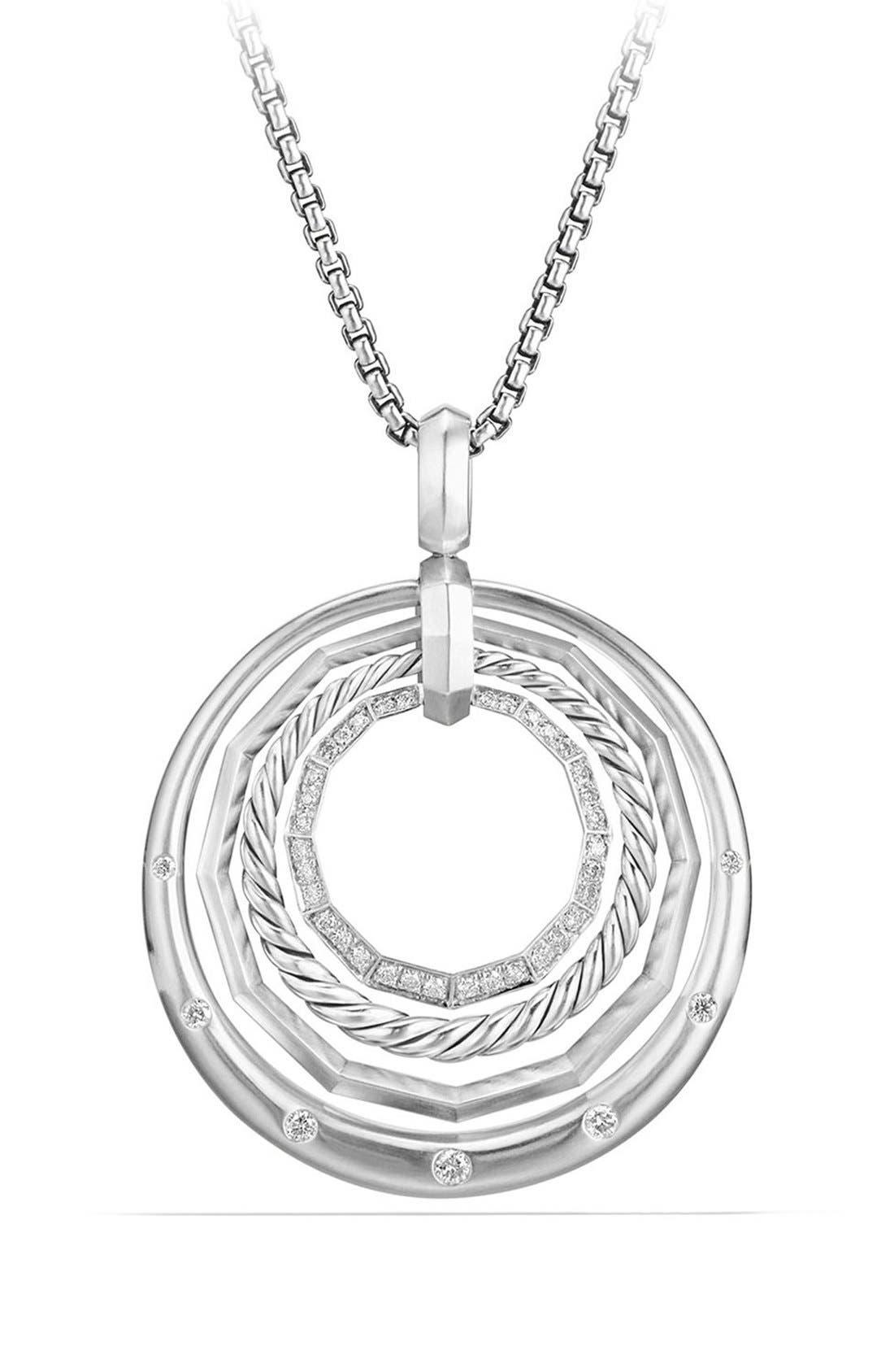 Stax Diamond Pendant Necklace,                             Main thumbnail 1, color,                             Silver