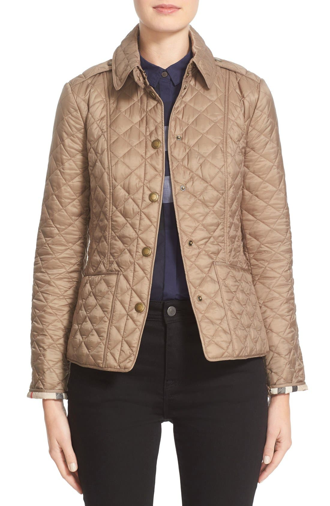 Alternate Image 1 Selected - Burberry Brit 'Kencott' Patch Pocket Quilted Coat