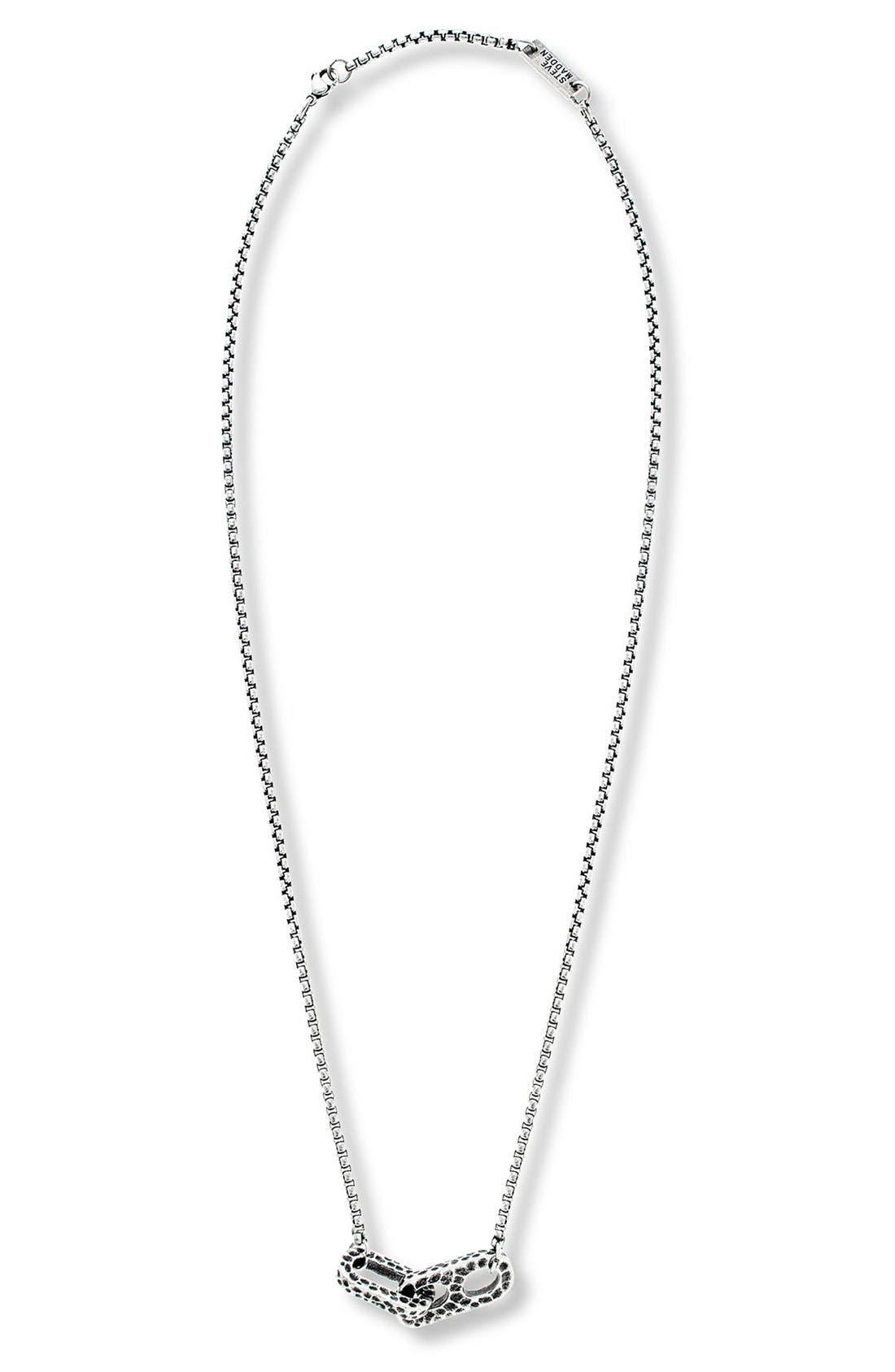 Hammered Link Pendant Necklace,                         Main,                         color, Burnished Silver