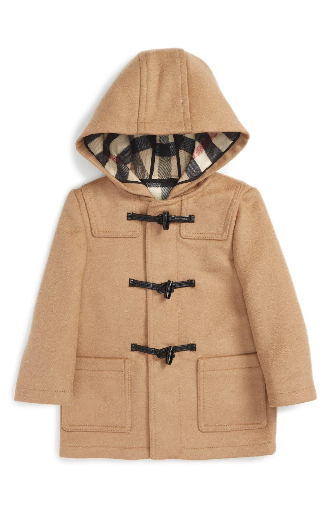 Burberry 'Brogan' Hooded Wool Toggle Coat (Toddler Boys)