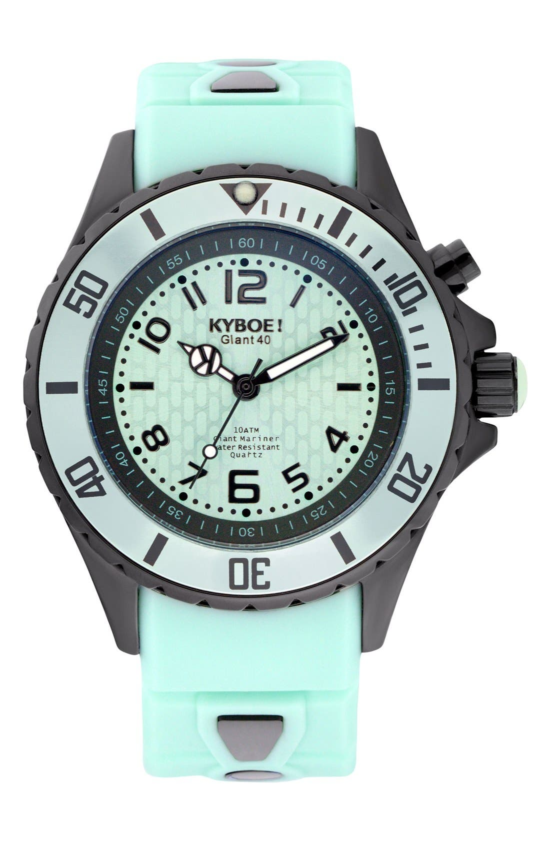 Power Silicone Strap Watch, 48mm,                         Main,                         color, Mint/ Black
