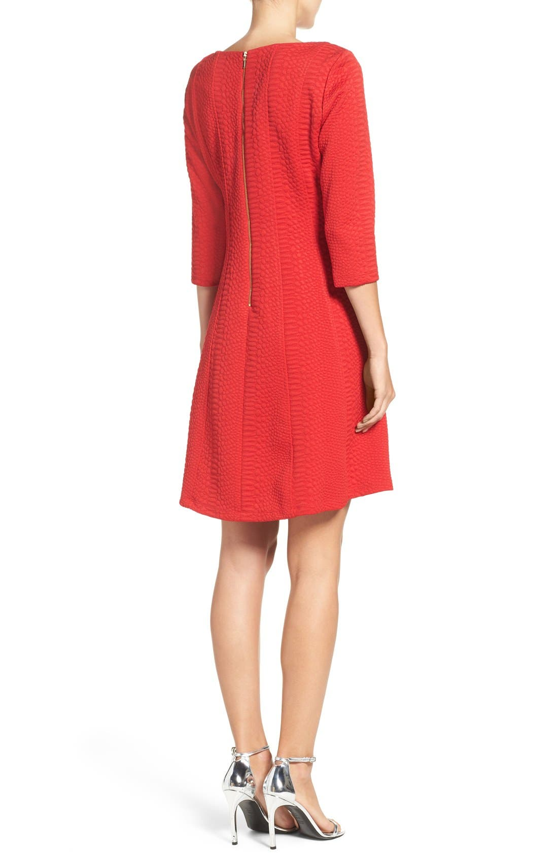 Jacquard Knit Fit & Flare Dress,                             Alternate thumbnail 2, color,                             Red