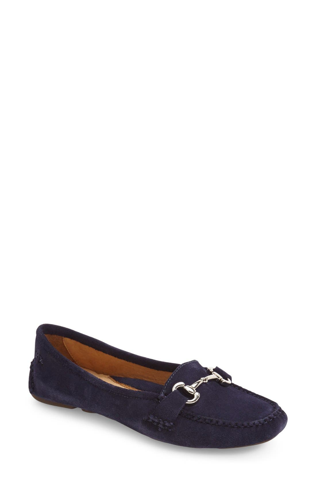'Carrie' Loafer,                             Main thumbnail 1, color,                             Navy Suede