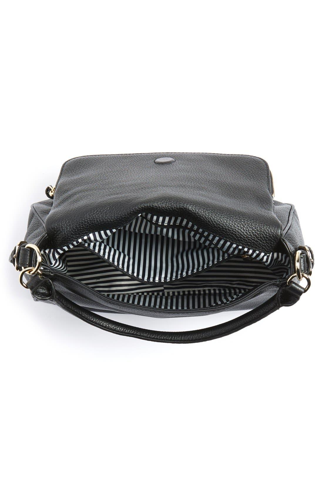 cobble hill - deva leather crossbody bag,                             Alternate thumbnail 4, color,                             Black