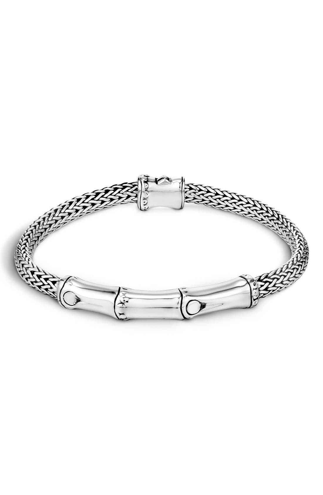 Bamboo 4mm Bracelet,                             Main thumbnail 1, color,                             Sterling Silver