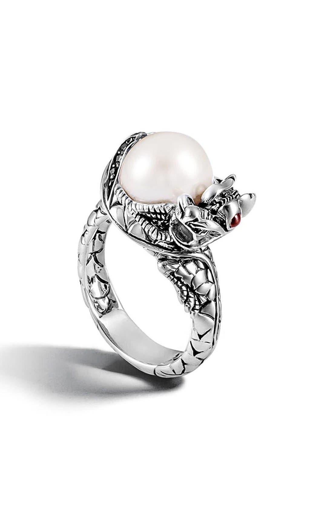 'Naga - Lava' Dragon & Pearl Ring,                             Main thumbnail 1, color,                             Silver